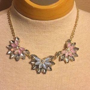Vintage gray, pink, blue crystal necklace